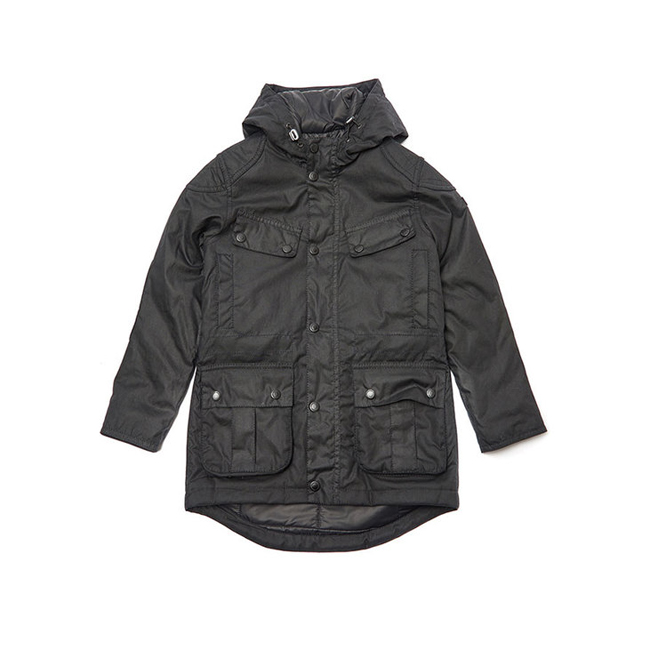 Barbour B.INTL STORM WAX PARKA JACKET Boys Black Outlet Store