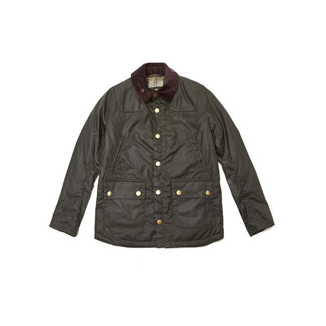 Barbour WINTER REELIN WAX JACKET Boys Sage Outlet Store