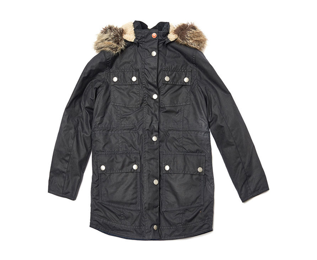 Barbour CARRIBENA WAX PARKA JACKET Girls Navy Outlet Store