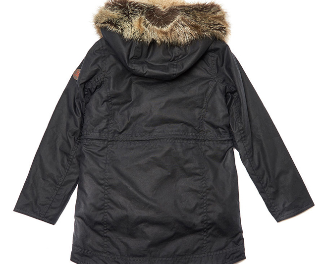 Cheap BARBOUR GIRLS CARRIBENA WAX PARKA JACKET Navy Sale