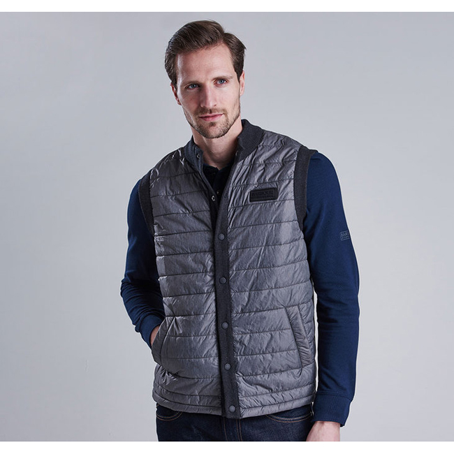 Barbour B.INTL BAFFLE GILET Men Charcoal Outlet Store