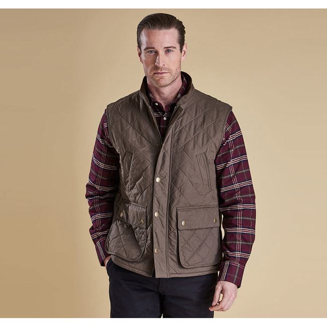 Cheap Barbour Men Olive REDSHORE QUILTED GILET Online