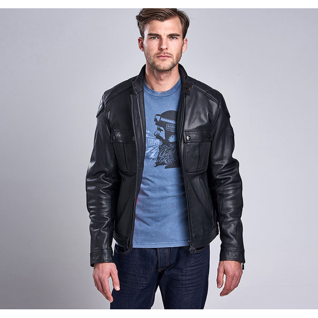 Cheap Barbour Men Black B.INTL TRIUMPH LOCKING LEATHER JACKET Online
