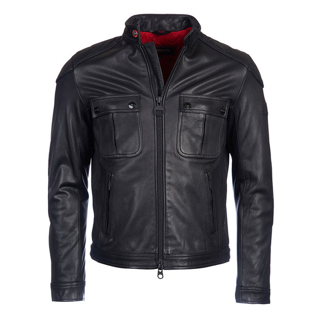 Barbour B.INTL TRIUMPH LOCKING LEATHER JACKET Men Black Outlet Store