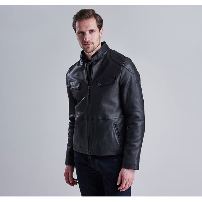 Cheap Barbour Men Black B.INTL TRACTION LEATHER JACKET Online