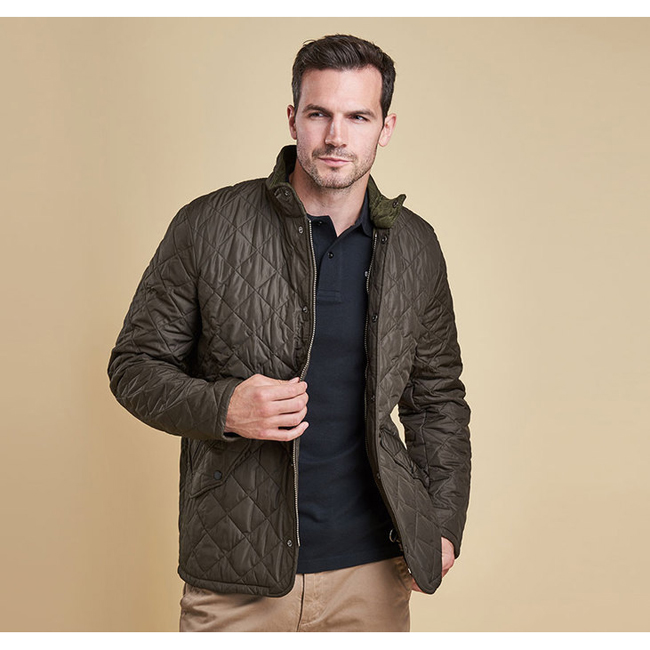 Cheap Barbour Men Olive CHELSEA SPORTSQUILT JACKET Online