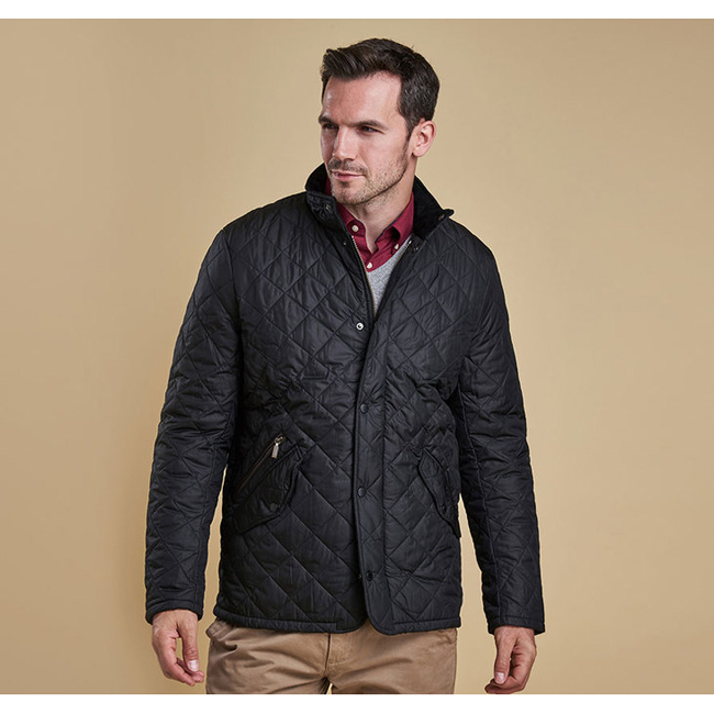 Cheap Barbour Men Black CHELSEA SPORTSQUILT JACKET Online