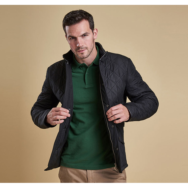 Cheap Barbour Men Black POWELL QUILTED JACKET Online