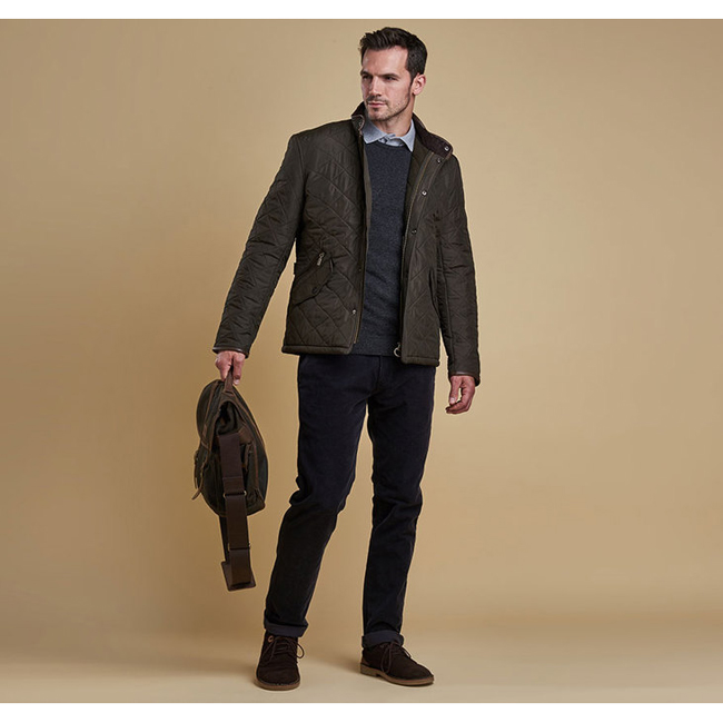 Cheap Barbour Men Olive POWELL QUILTED JACKET Online