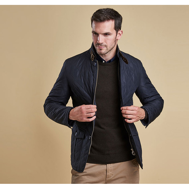 Cheap Barbour Men Navy LUTZ QUILTED JACKET Online