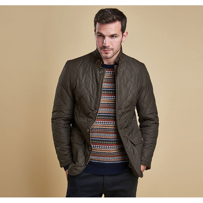 Cheap Barbour Men Olive LUTZ QUILTED JACKET Online