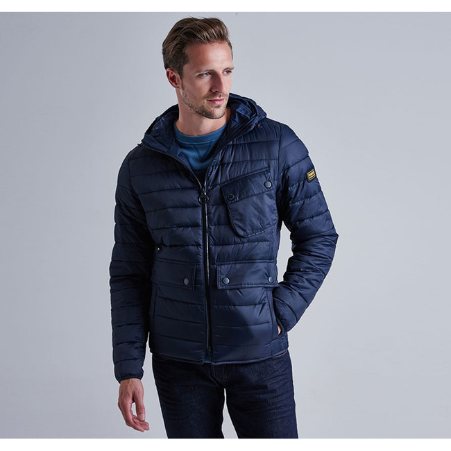 Barbour B.INTL OUSTON HOODED SLIM QUILTED JACKET Men Navy Outlet Store