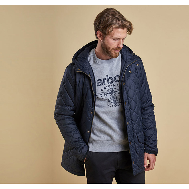 Cheap Barbour Men Navy CROWL QUILTED JACKET Online