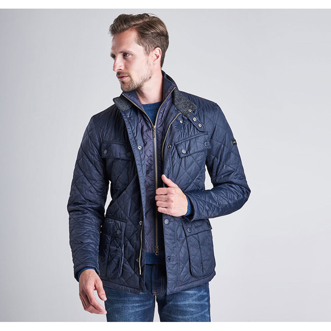 Barbour B.INTL WINDSHIELD TAILORED FIT QUILTED JACKET  Men Navy Outlet Store