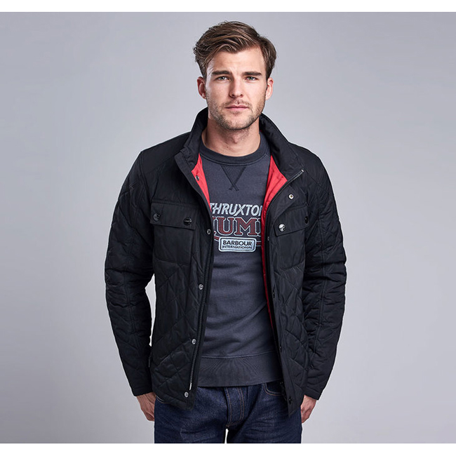 Cheap Barbour Men Black B.INTL V TWIN BOX QUILTED JACKET Online