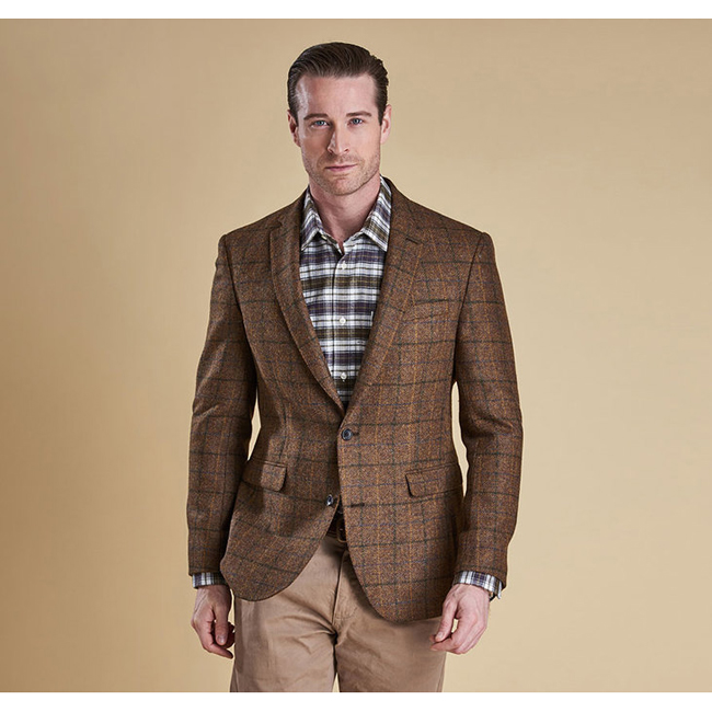 Cheap Barbour Men Brown/Green Check BELTEX TAILORED JACKET Online