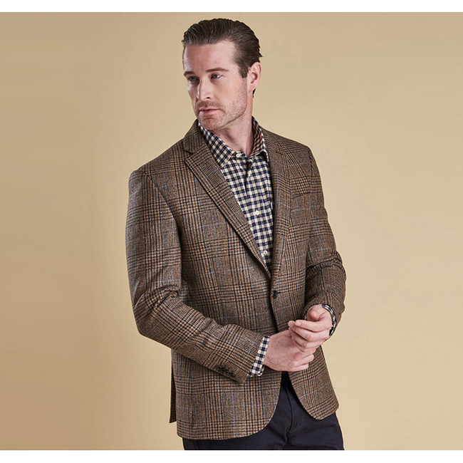 Cheap Barbour Men Brown Check PORTLAND TAILORED JACKET Online