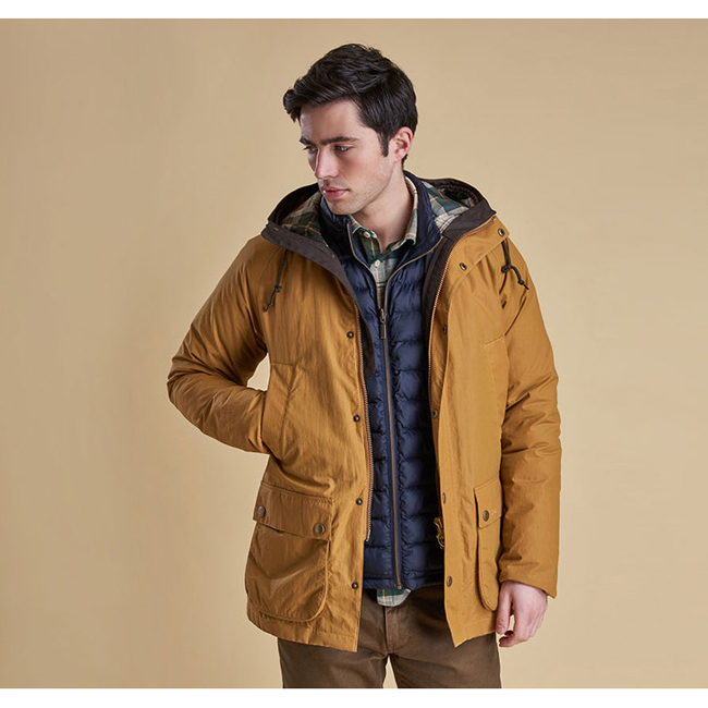 Cheap Barbour Men Yellow  HOODED WATERPROOF BEDALE JACKET Online