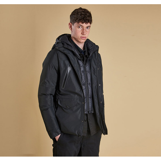 Cheap Barbour Men Black  FOUR BELL WATERPROOF JACKET Online