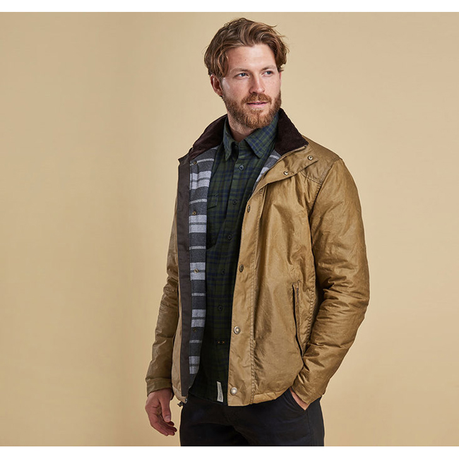 Cheap Barbour Hilton Wax Jacket Sand Sale