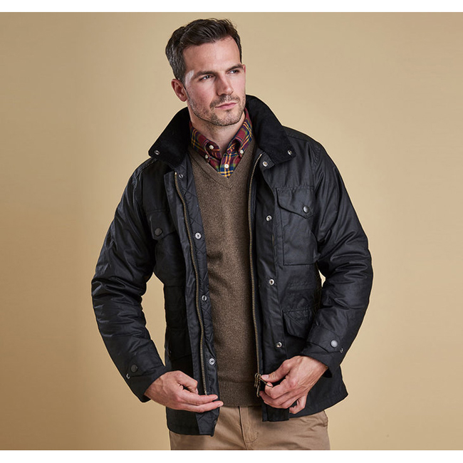 Cheap BARBOUR SAPPER WAX JACKET Black Sale