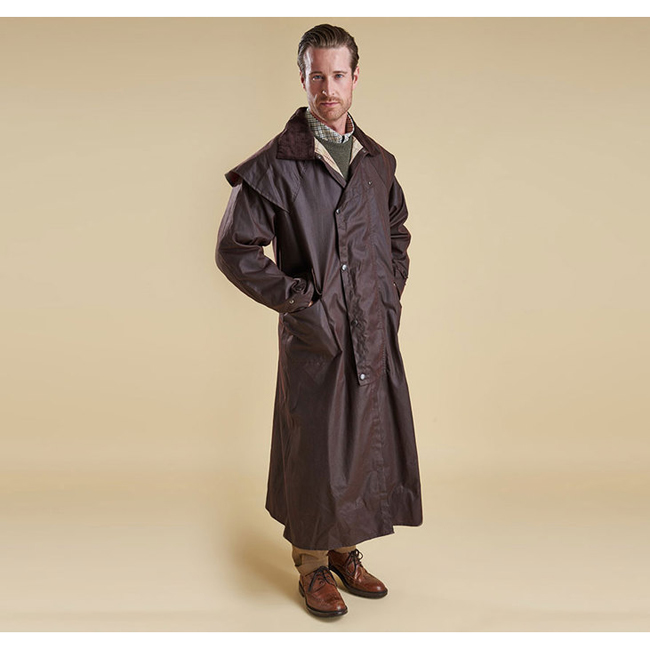 Cheap Barbour Men Brown STOCKMAN COAT WAX JACKET Online