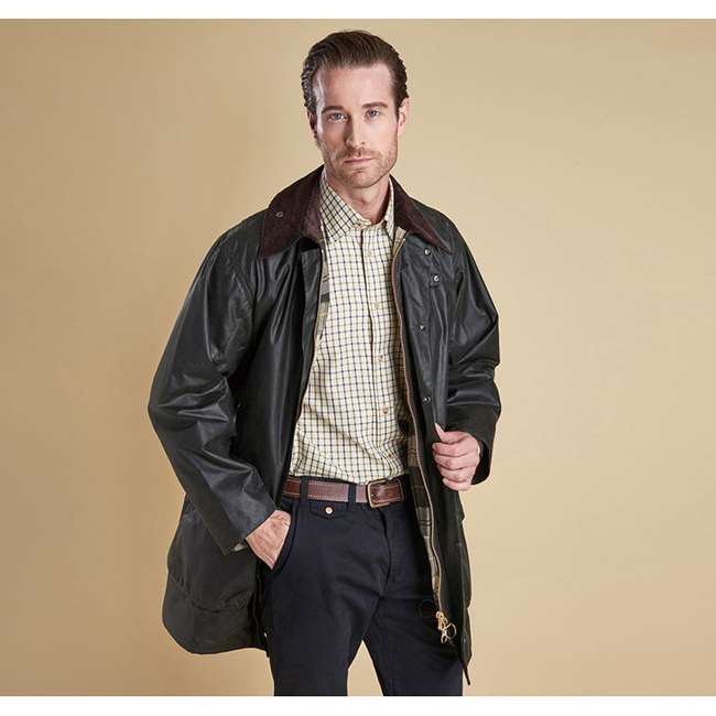 Barbour BORDER WAX JACKET Men Sage Outlet Store
