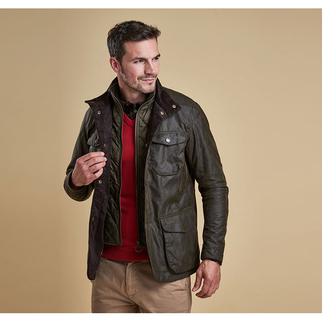 Cheap BARBOUR OGSTON WAX JACKET Olive Sale