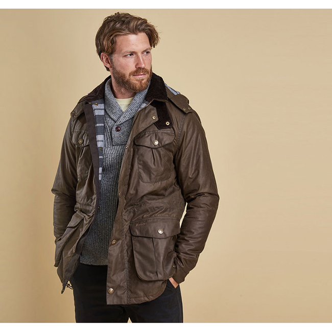 Cheap BARBOUR ROKER WAX JACKET Peat Sale