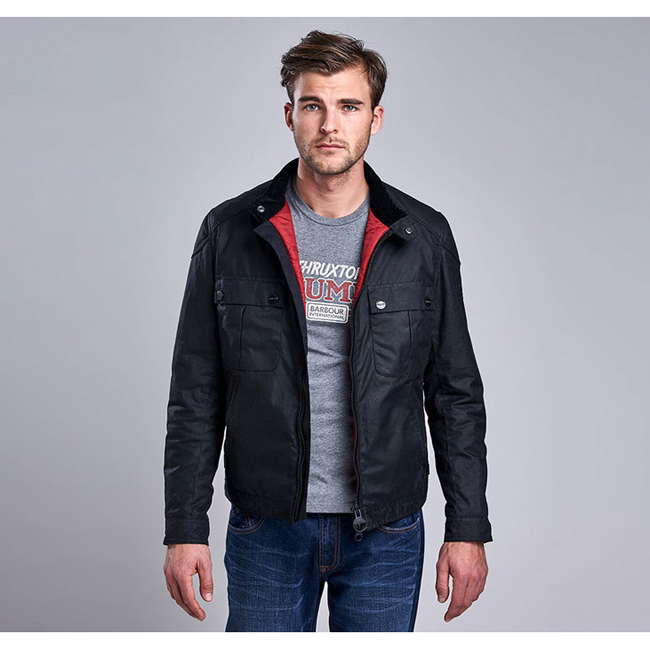 Cheap Barbour Men Black B.INTL TRIUMPH LOCKING WAX JACKET Online