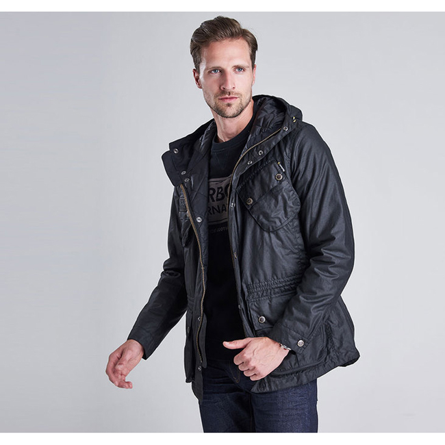 Cheap Barbour Men Black B.INTL FOG WAX PARKA JACKET Online