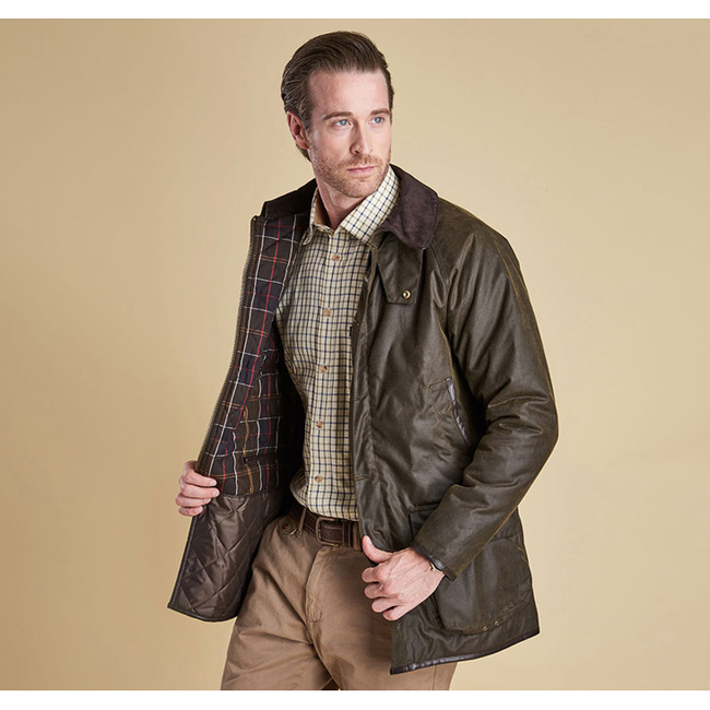 Cheap Barbour Men Olive LONGHURST WAX JACKET Online