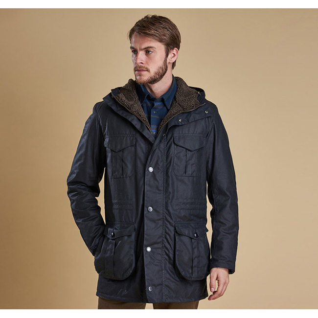 Cheap BARBOUR OAKUM WAX JACKET Navy Sale