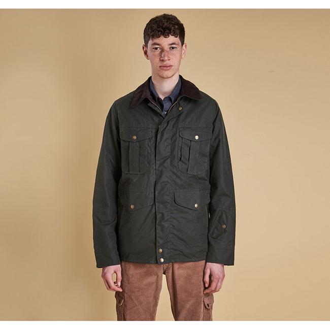 Barbour CRUX WAX JACKET Men Sage Outlet Store