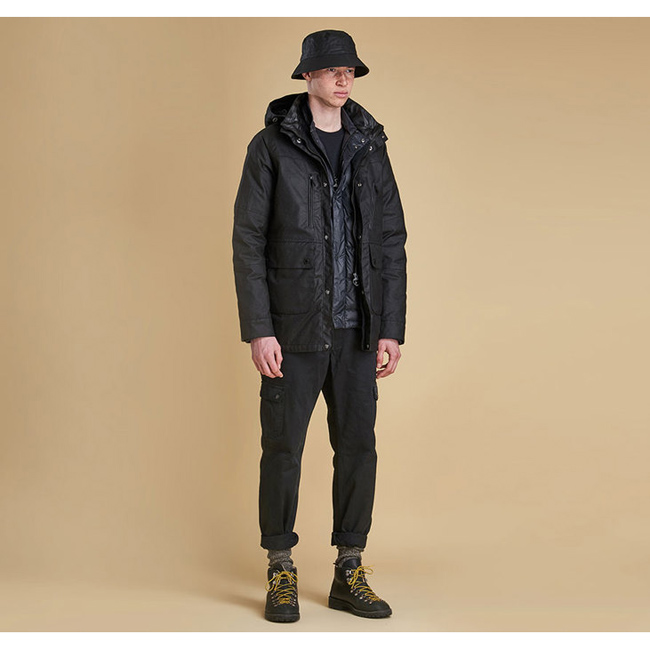 Cheap Barbour Men Black ONE BELL WAX JACKET Online