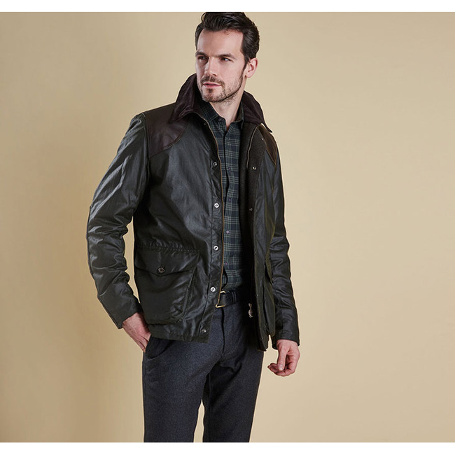 Cheap BARBOUR ESPIONAGE WAX JACKET Sage Sale