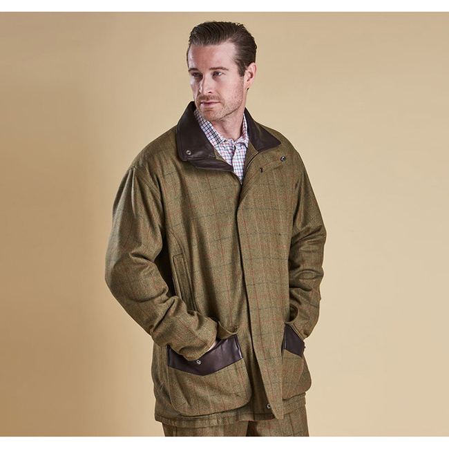 Cheap BARBOUR MOORHEN WATERPROOF WOOL JACKET Olive/Brn Check Sale