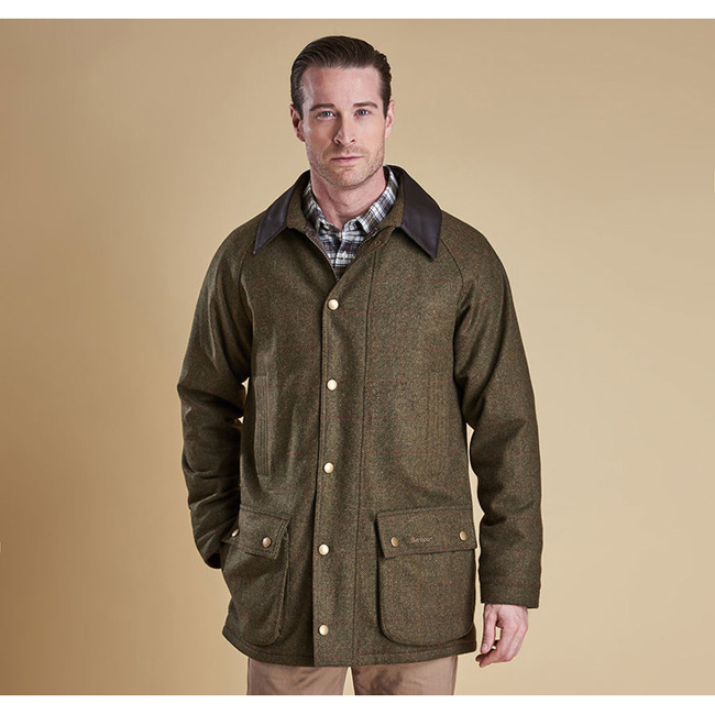 Cheap BARBOUR DOTTEREL WATERPROOF WOOL JACKET Olive/Rd/Yel Sale