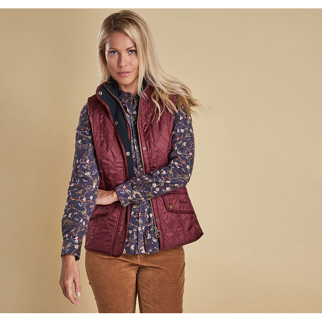 Cheap Barbour Women Rosewood/Navy CAVALRY QUILTED GILET Online
