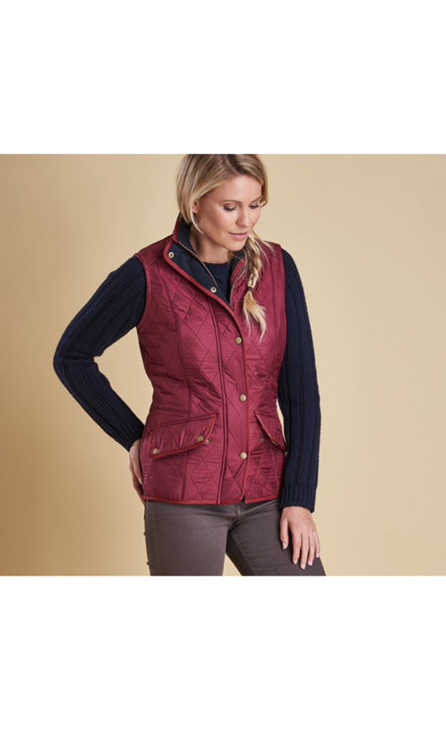 Cheap BARBOUR CAVALRY QUILTED GILET Burgundy Sale