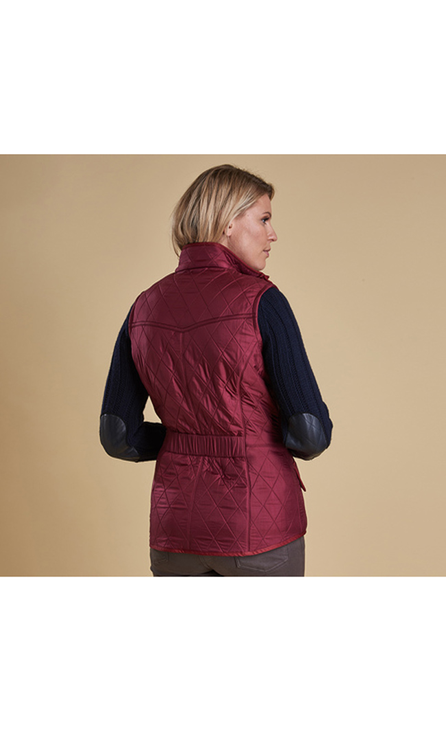 Cheap Barbour Women Burgundy CAVALRY QUILTED GILET Online