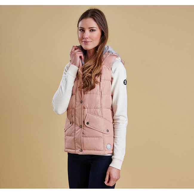 Cheap Barbour Women Nude/Silver Ice LANDRY GILET Online