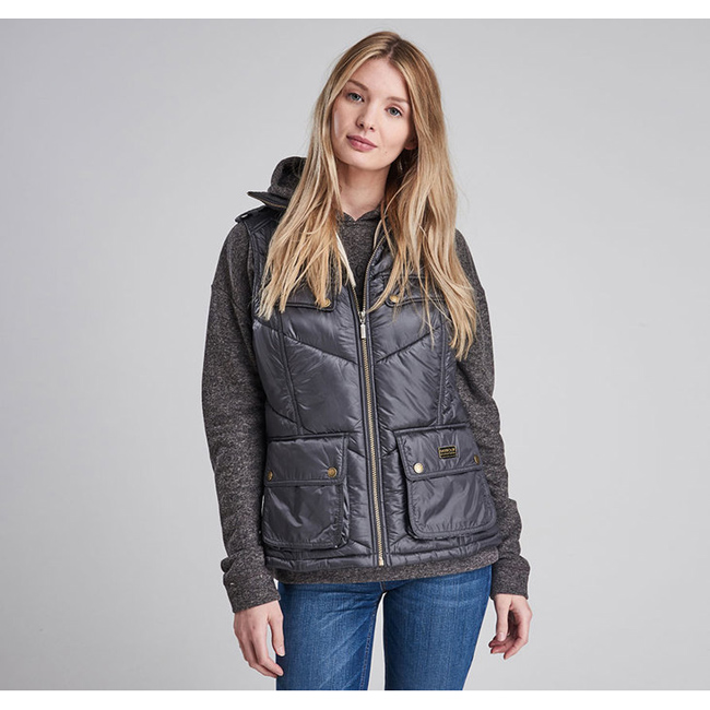 Cheap Barbour Women Ash Grey B.INTL CHICANE QUILTED GILET Online