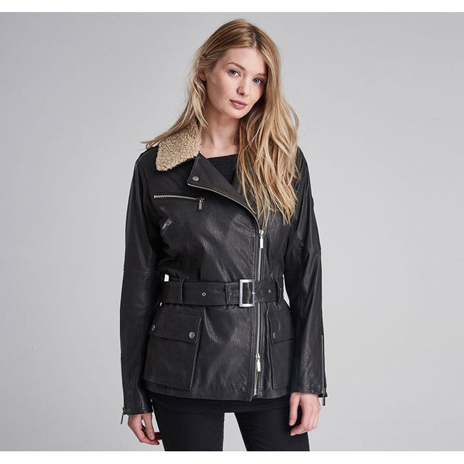 Cheap Barbour Women Black  B.INTL CHARADE LEATHER JACKET Online