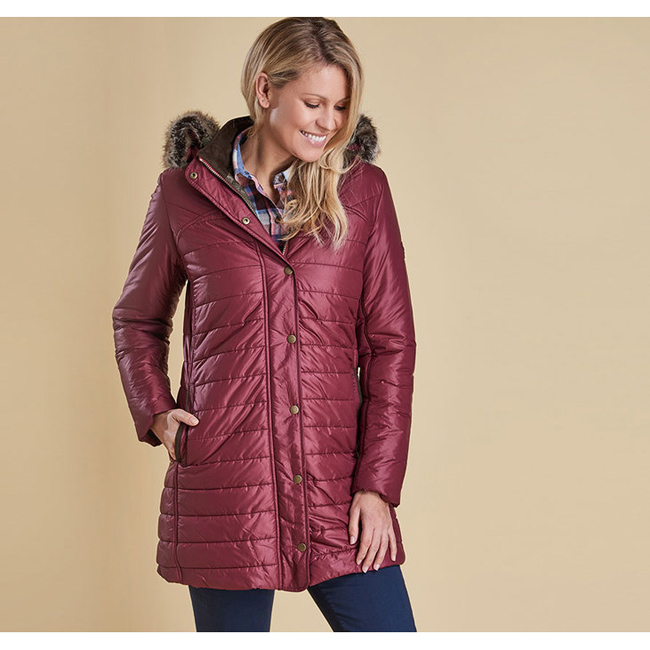 Barbour ROSSENDALE QUILTED JACKET Women Burgundy Outlet Store