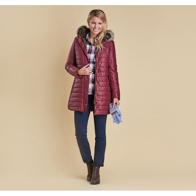 Cheap BARBOUR ROSSENDALE QUILTED JACKET Burgundy Sale