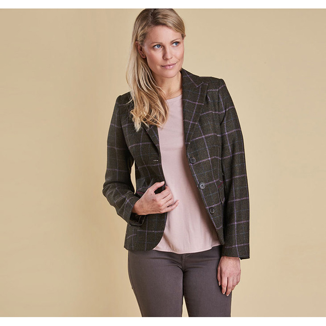 Barbour ASTER TAILORED TWEED JACKET Women Olive Outlet Store