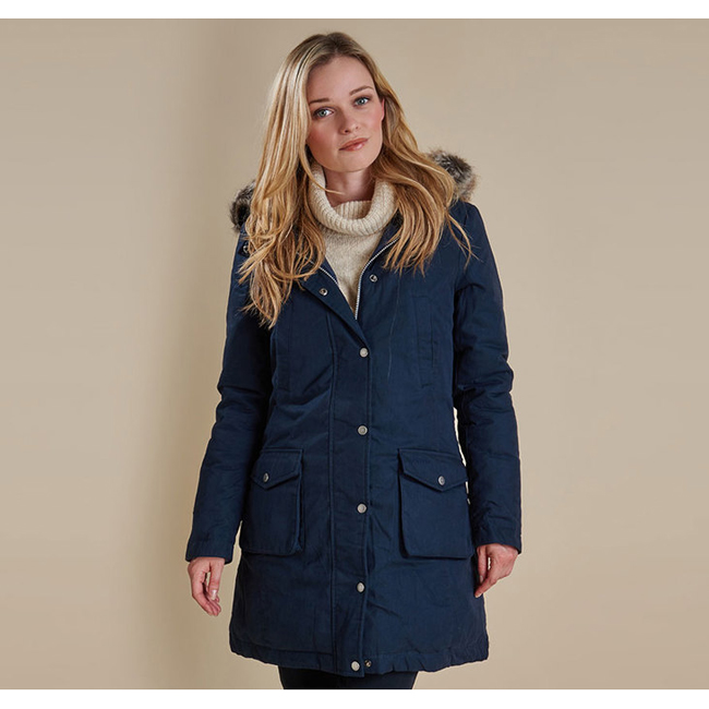 Barbour WREST WATERPROOF PARKA COAT Women Navy Outlet Store