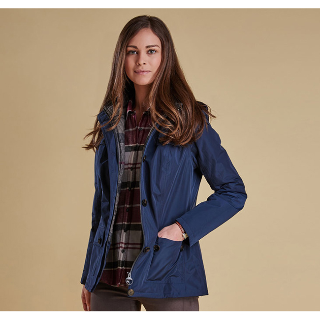 Cheap Barbour Women Navy / Navy Winter Tartan OLDANY WATERPROOF JACKET Online