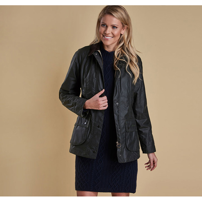 Barbour BEADNELL WAX JACKET Women Sage Outlet Store